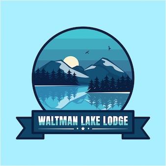 Озеро логотип винтажная гора