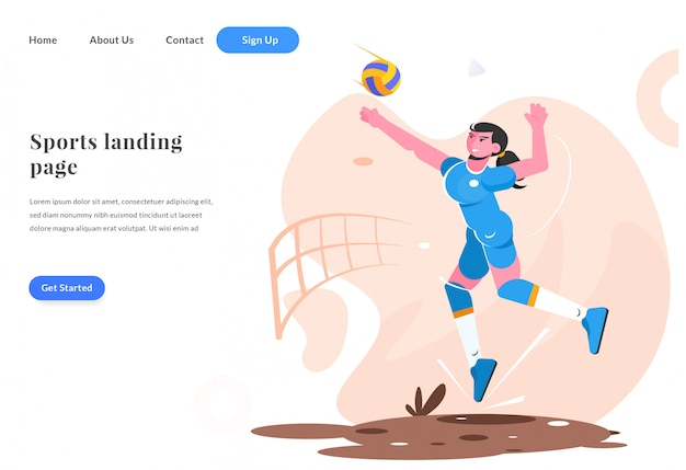 Веб-целевой страницы женщина играть в волейбол