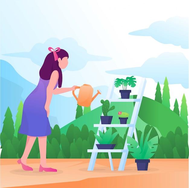 庭の図に植物の水遣りの女性
