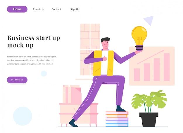 Веб-целевой страницы деловой человек получить идею