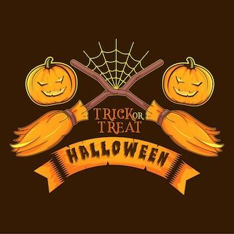 Метла ведьма и жуткая тыква логотип иллюстрации хэллоуин