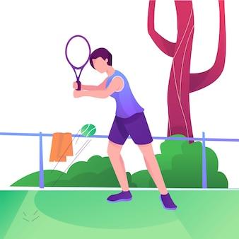 テニスサービスフラットイラスト女性