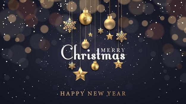Новогодний фон со светящимися точками светлых золотых звезд пузырей и снежинок