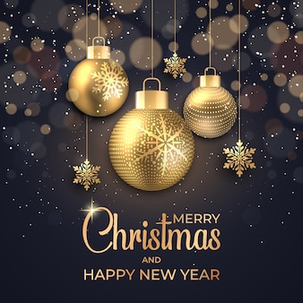 輝くドットと金色の星の泡と雪のクリスマスの背景