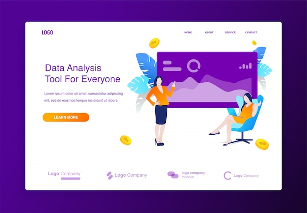 データ分析イラストの概念を持つウェブサイト