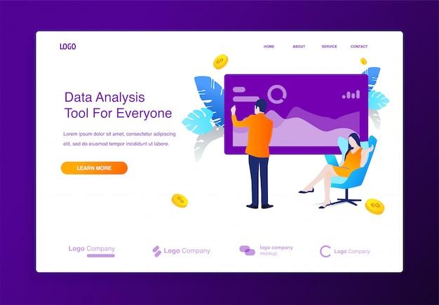 Веб-сайт с концепцией иллюстрации анализа данных