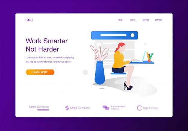 女性は、ウェブサイトやリンク先ページのためのラップトップのイラストの概念を使用して座って