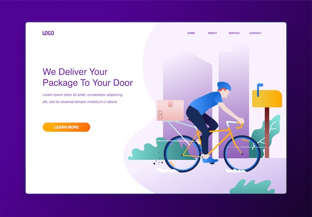 ウェブサイトのための自転車と段ボール箱で配達サービスの概念