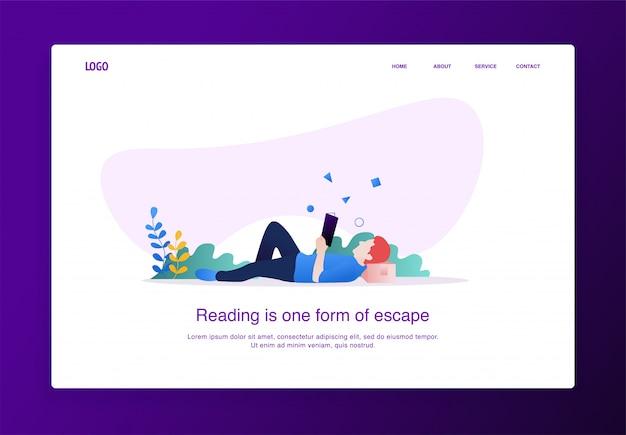 Целевая страница иллюстрация человека, читающего книгу