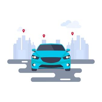 自動車とピンマップの現代的なベクトル図