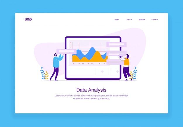 男性と女性のウェブサイトおよびモバイルウェブサイトのタブレット上のデータのカスタマイズのモダンなカスタムイラスト概念。ランディングページテンプレート