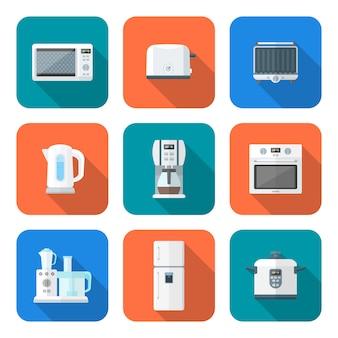 カラーフラットスタイルのさまざまなキッチンデバイスセット