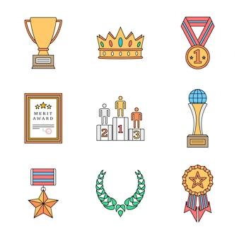 色付きのアウトラインのさまざまな賞のアイコンコレクション