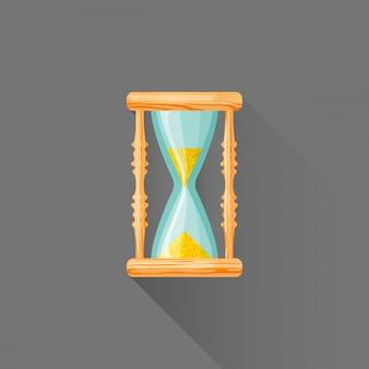 Плоский стиль деревянный значок песочных часов