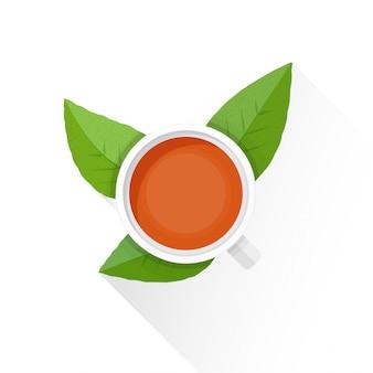 Плоская чашка чая значок зеленых листьев