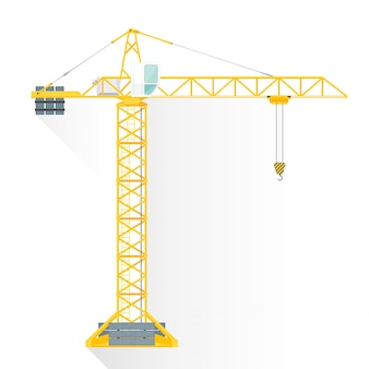 Плоский стиль желтая башня здание крана значок