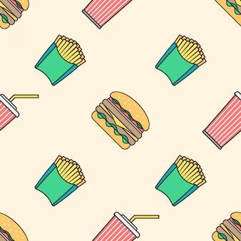 ハンバーガーフライドポテト色のアウトラインのシームレスなパターンを飲む