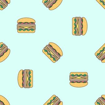 ダブルハンバーガー色のシームレスパターン