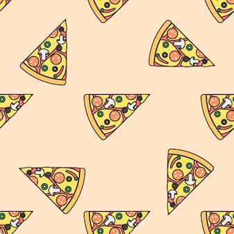 Пицца ломтик цветной бесшовный фон