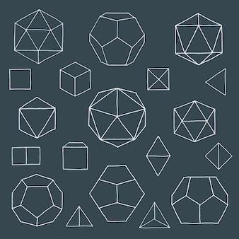 Коллекция рисованной многогранников