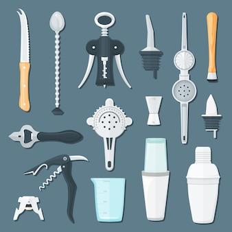 Комплект иллюстрации оборудования бармена плоский