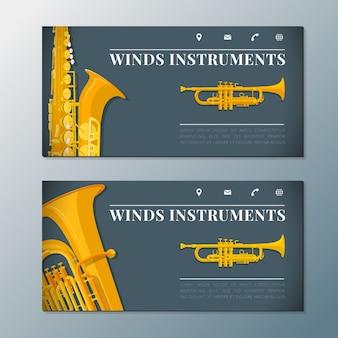 Шаблоны баннеров музыкальных инструментов ветра
