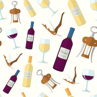 白赤ワインフラットデザインのシームレスパターン