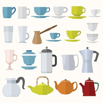ベクトル様々な色のフラットデザインのコーヒーティーカップとポットセット