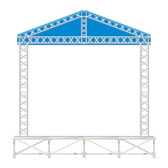 Секционная сборная концертная металлическая сцена с синей крышей