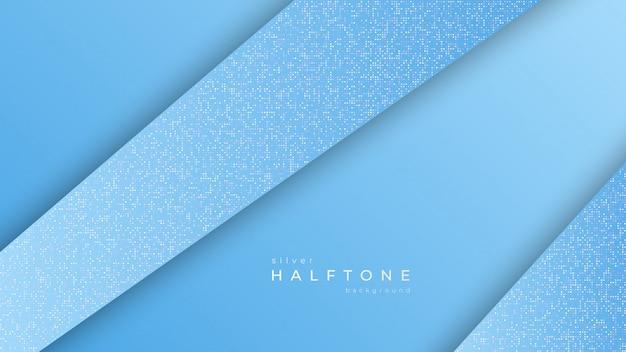 グラデーションハーフトーンデザイン対角線ホワイトドット、シルバーハーフトーンテクスチャと背景