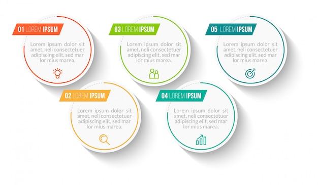 Инфографика с пятью шагами