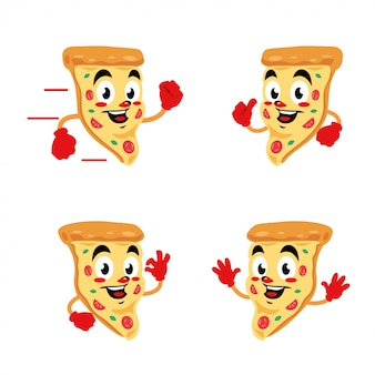 Пицца вкусный мультипликационный персонаж милый