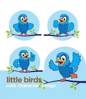 かわいいキャラクターと小さな鳥