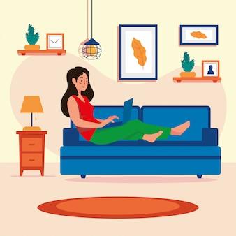 家にいる女性家族概念ベクトル