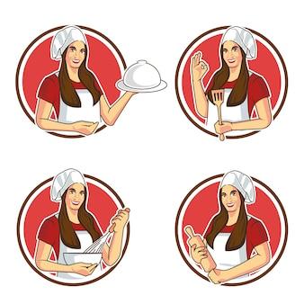 シェフ女性漫画のマスコットステッカーデザイン