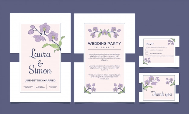 結婚式招待状エレガントな蘭の花のデザイン