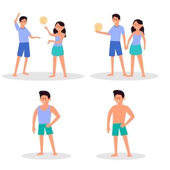 Солнечный день на пляже. летние развлечения на пляже. спорт и отдых. мальчик, девочка, мужчина, женщина, серфер, туристы.