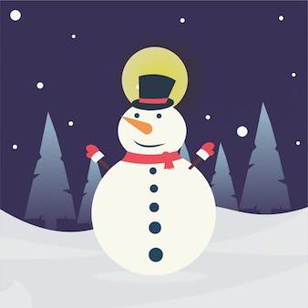 クリスマス雪だるまが雪の背景に分離されました。ベクトルイラスト