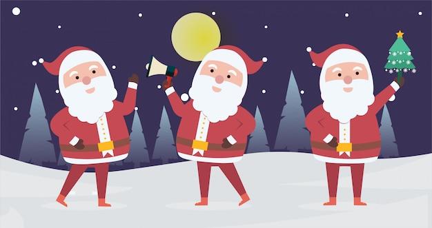 Коллекция рождественских санта-клауса. набор забавных персонажей мультфильма