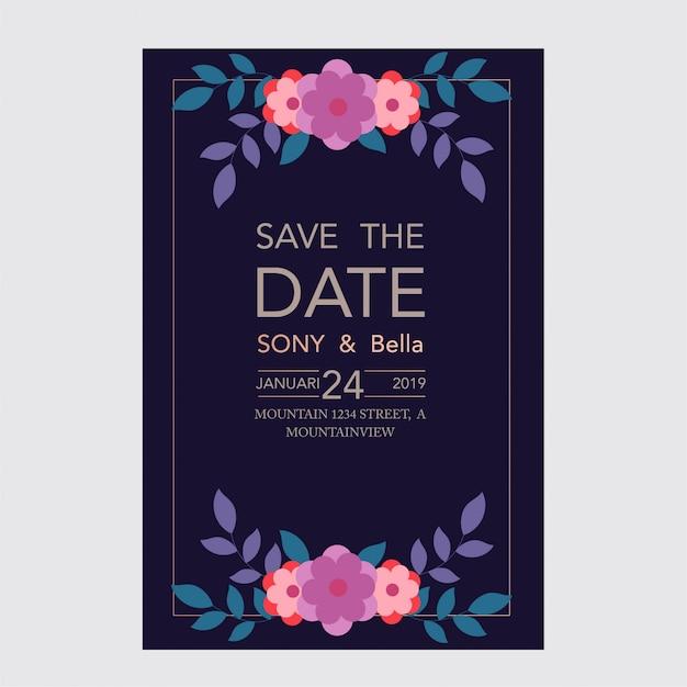 花と葉のフレームを持つ美しい結婚式と招待状カード