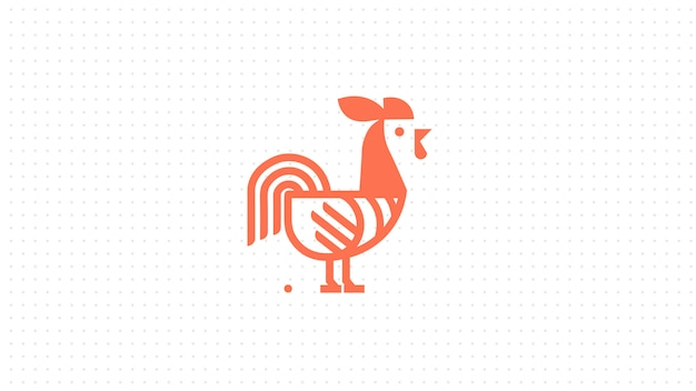 ラインのロゴのコンセプトスタイルの創造的なオンドリ。鳥コック抽象的なイラスト。