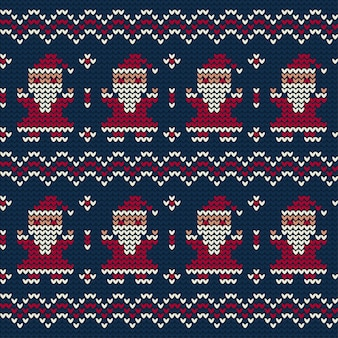 Дед мороз вязаный узор на рождество