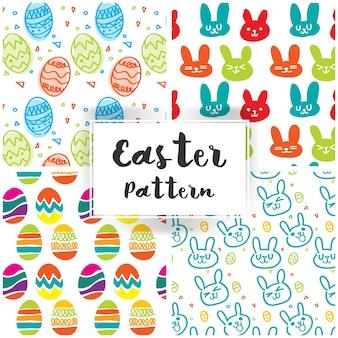 かわいいウサギとイースターエッグとイースターのパターン