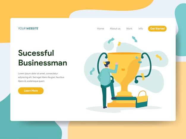 ウェブサイトのページのための成功した実業家