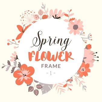装飾的な春の花とラウンドフレーム