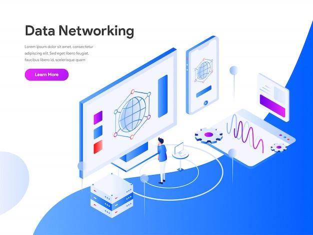 Сеть передачи данных изометрические для страницы сайта