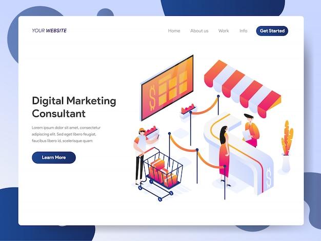 Баннер консультанта по цифровому маркетингу целевой страницы