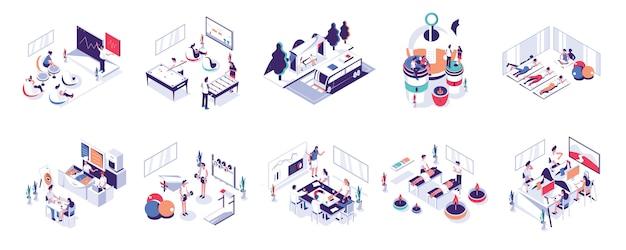 オフィスの人々とコワーキングスペース