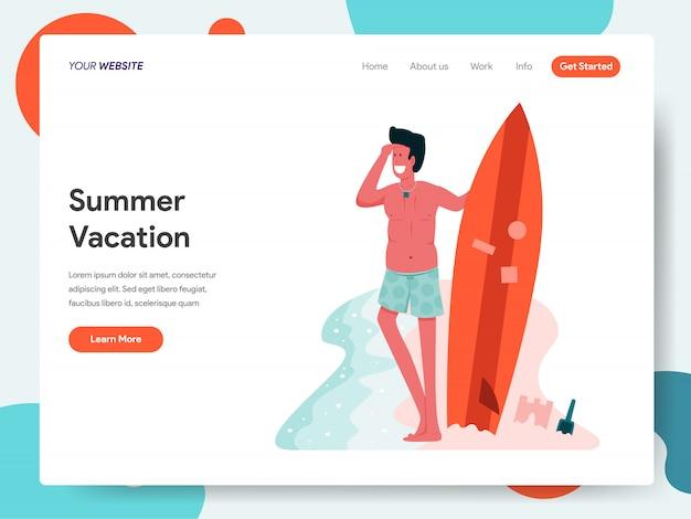 Мужчина позирует с доской для серфинга для целевой страницы