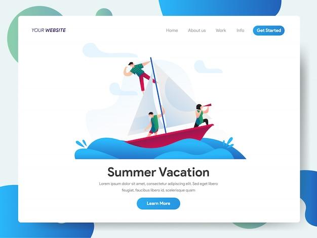 Летние каникулы с баннером лодка для целевой страницы